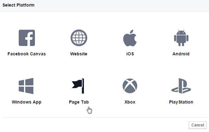 Plataforma selección Facebook