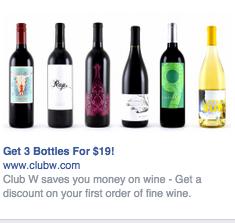 Anuncio en Facebook de botellas de vino