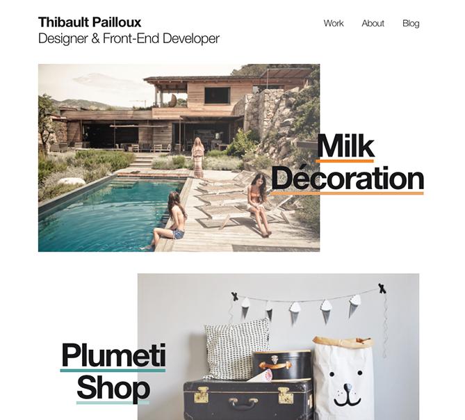 Tendencias de diseño web Thibault Pailloux