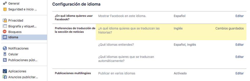 como cambiar de idioma mi perfil en Facebook
