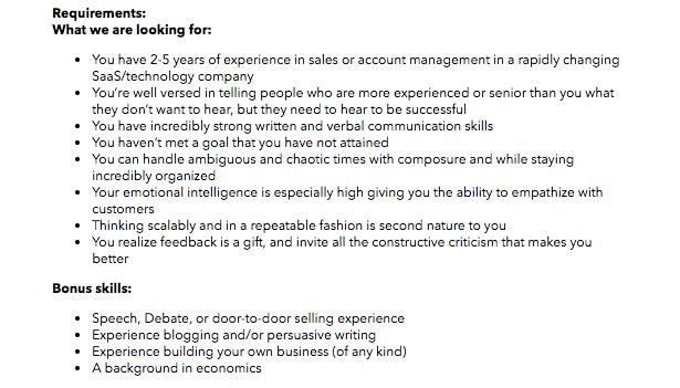 Ejemplo de requisitos para contratación de personal
