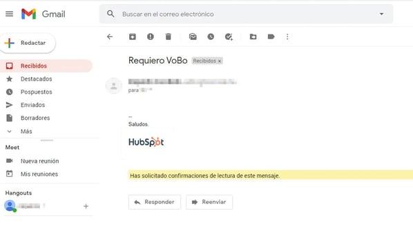 Acuse de recibo Gmail