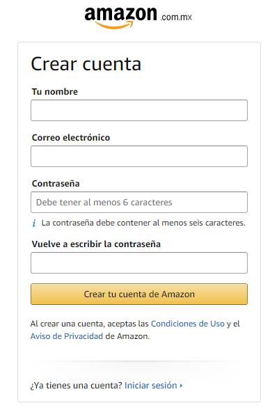 Amazon Prime Ejemplo Formulario