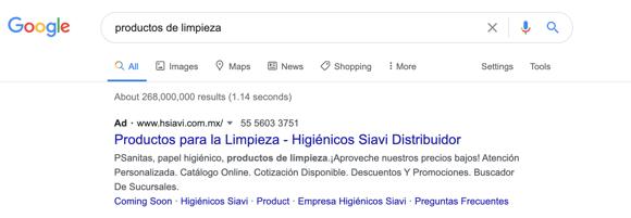 Anuncio de Google Ads (antes AdWords)