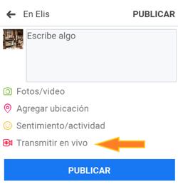 Botón «Transmitir en vivo» para usar Facebook Live