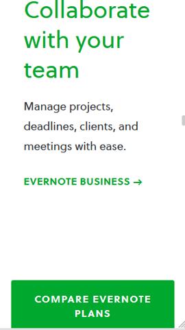 Botón de llamada a la ación en el sitio móvil de Evernote