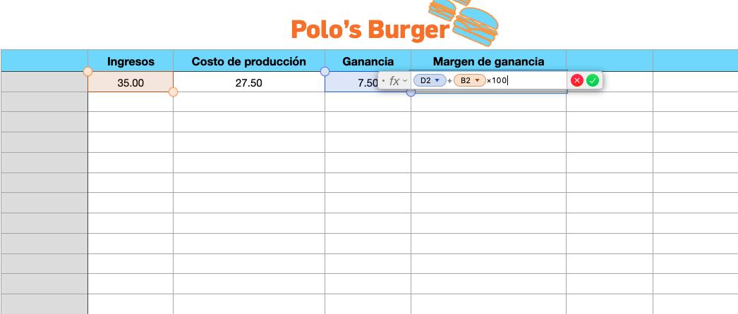 Cálculo del margen de ganancia usando Excel