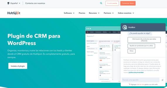 Chatbot gratis para WordPress de HubSpot