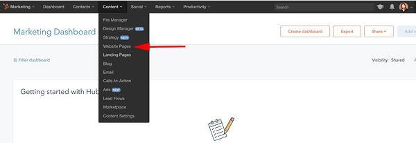 Cómo crear un sitio web en HubSpot- crear otras páginas