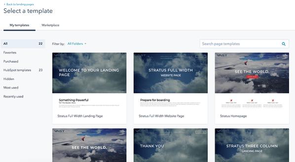 Cómo hacer un sitio web con HubSpot- seleccionar plantilla