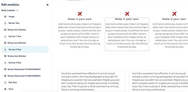 Cómo hacer un sitio web en HubSpot- Editar módulos