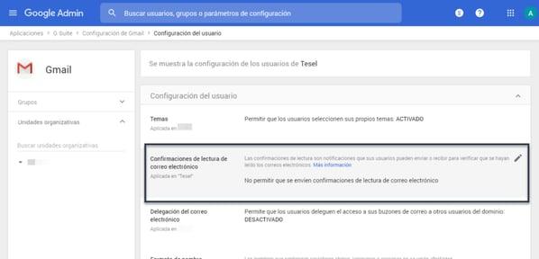 Configuración correo electrónico acuse de recibo Gmail