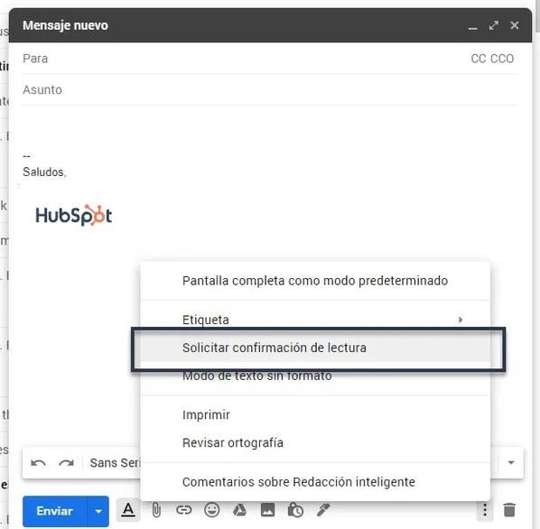 Confirmación Acuse de recibo Gmail