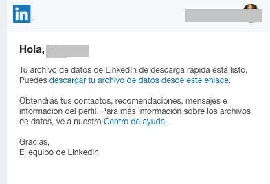 Correo de LinkedIn con datos de contactos