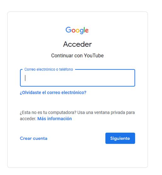Crea una cuenta de Google para iniciar en YouTube