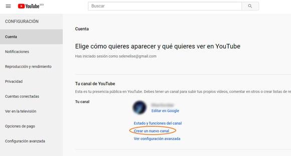 Crear un nuevo canal en YouTube