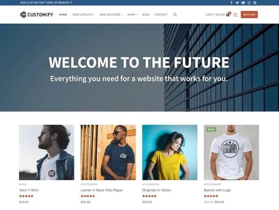Customify, plantilla versátil de Wordpress
