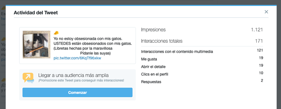Detalle de la actividad de un tuit en Twitter Analytics