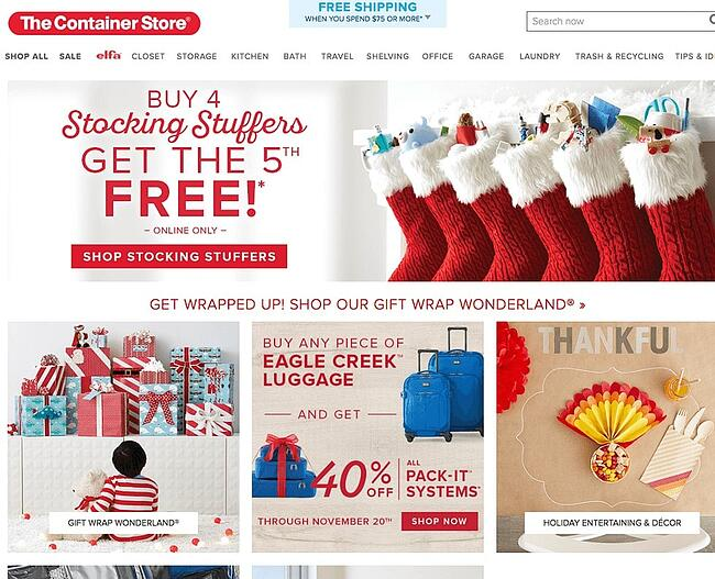 Diseño de página web navideña en sitio de The Container Store