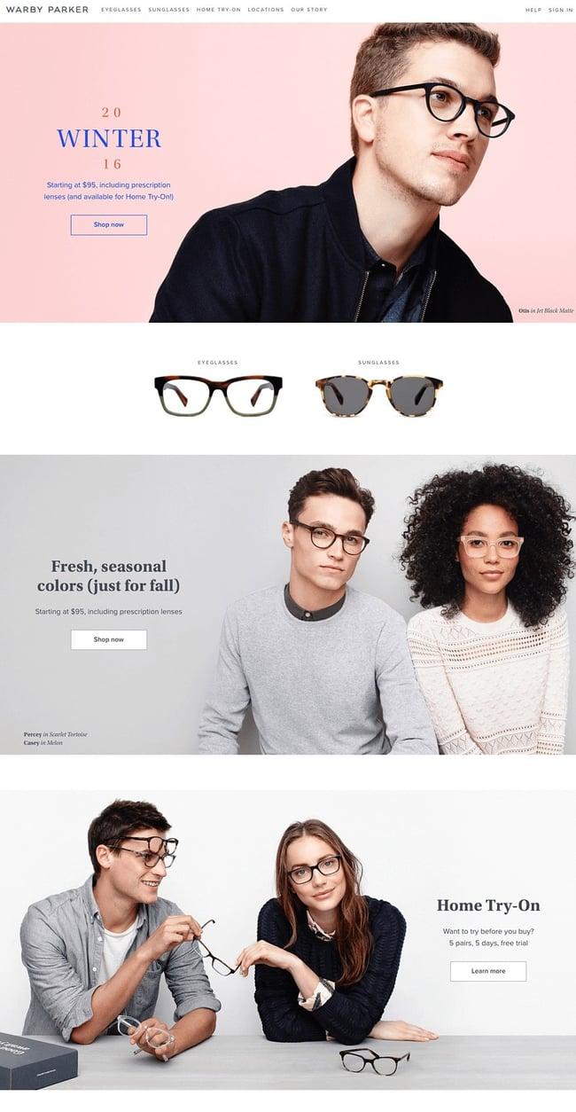 Diseño web Warby Parker en Navidad