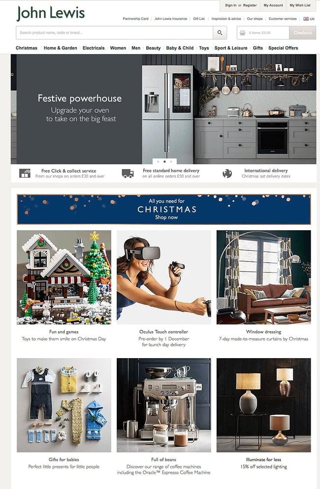 Diseño web para Navidad en página de John Lewis