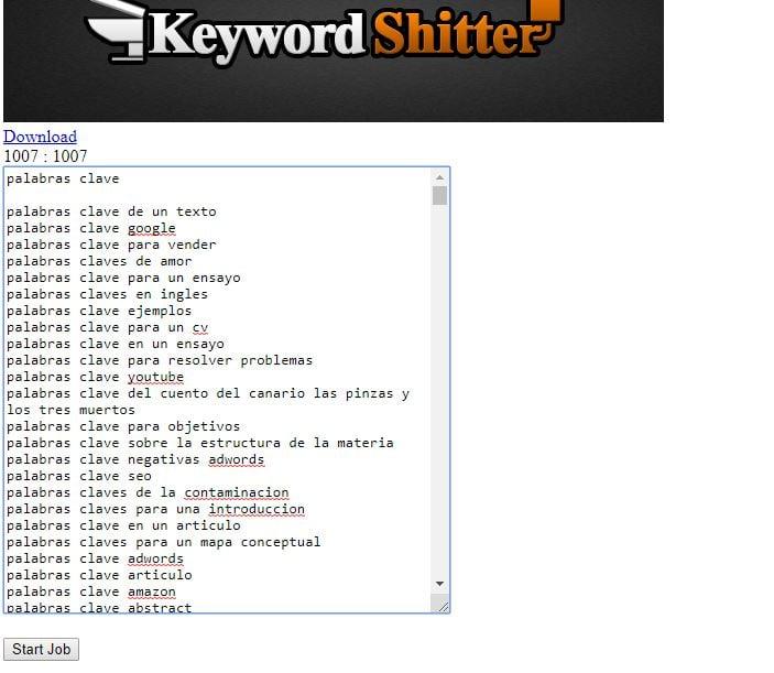 Herramienta Keyword Shitter para palabras clave de cola larga gratis