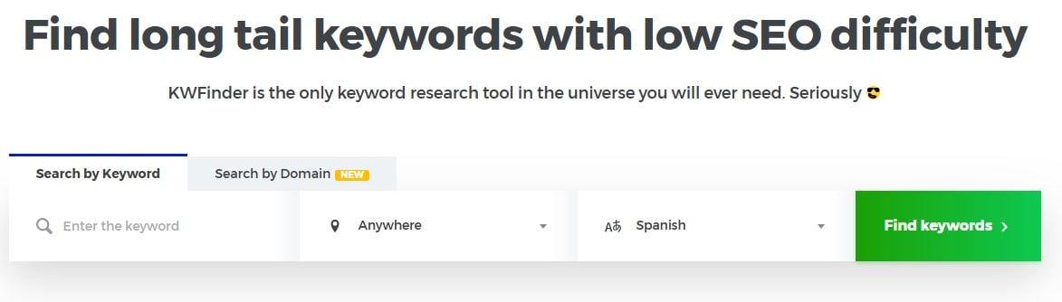 KWFinder: herramienta gratuita para palabras clave