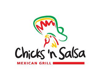 Ejemplo de logo de creativo de Chicks' n Salsa