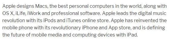 Misión empresarial de Apple