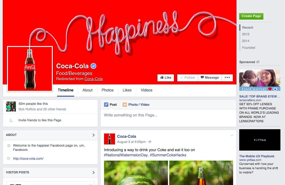 Ejemplo consistencia branding CocaCola