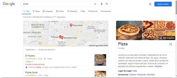 Ejemplo de SERP para la búsqueda «pizza»