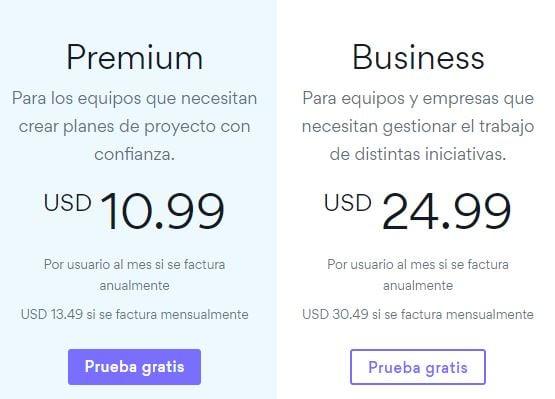 Ejemplo de SaaS con precios por usuario- Asana