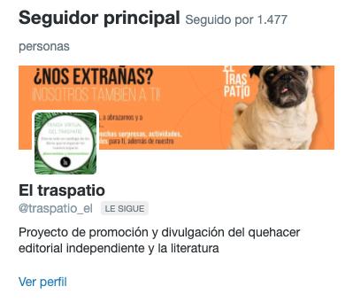 Ejemplo de Seguidor principal en Twitter Analytics