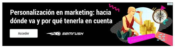 Ejemplo de banner con call to action de SEMrush