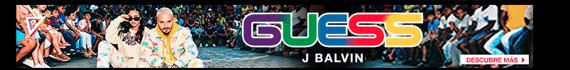 Ejemplo de banner con logo protagónico de Guess