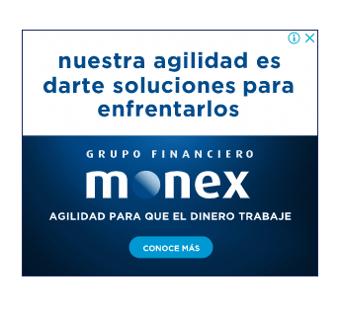 Ejemplo de banner publicitario con colores corporativos de Monex