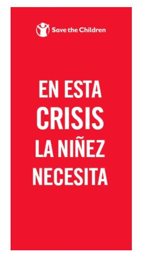 Ejemplo de banner publicitario de Save the Children