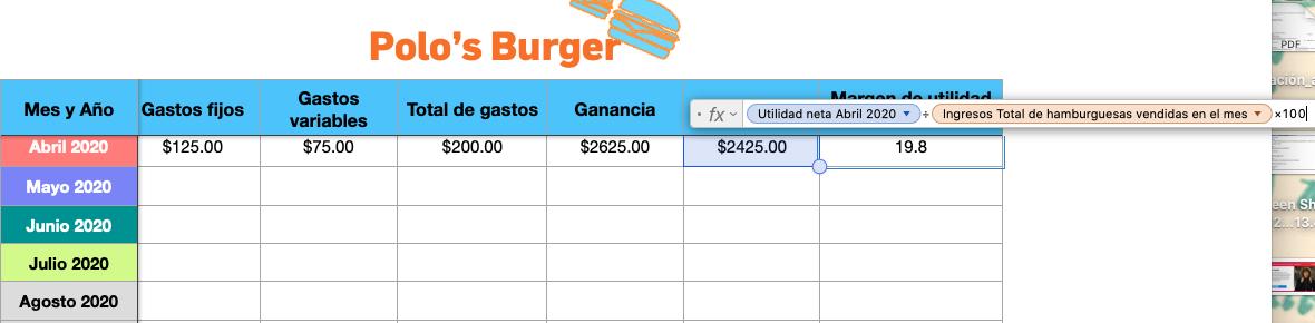 Ejemplo de cálculo de margen de ganancia en Excel-1