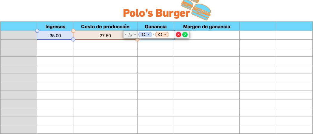 Ejemplo de cálculo de margen de ganancia en Excel