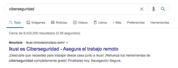 Ejemplo de campaña de Google Ads (AdWords) de Ikusi