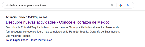 Ejemplo de campaña de Google Ads (AdWords) de Ruta del Tequila