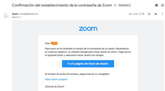 Ejemplo de confirmación de Zoom con no-reply