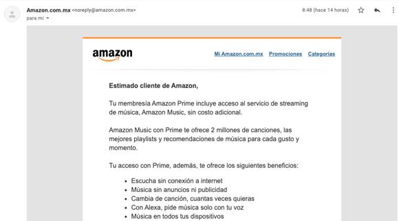 Ejemplo de confirmación de pedido de Amazon con no-reply