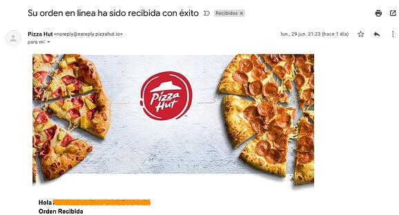 Ejemplo de confirmación de pedido de Pizza Hut con no-reply