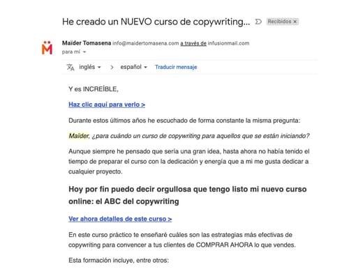 Ejemplo de correo con autorrespuesta de Maider Tomasena