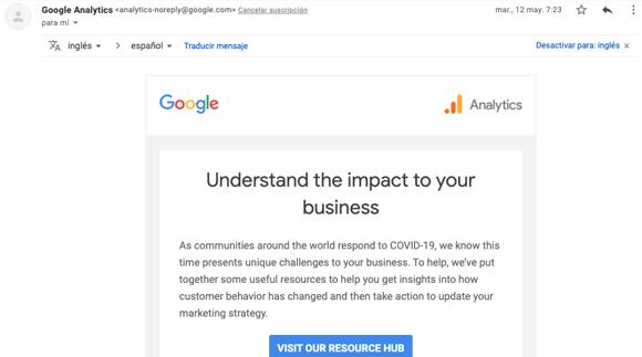 Ejemplo de correo con no-reply de Google Analytics