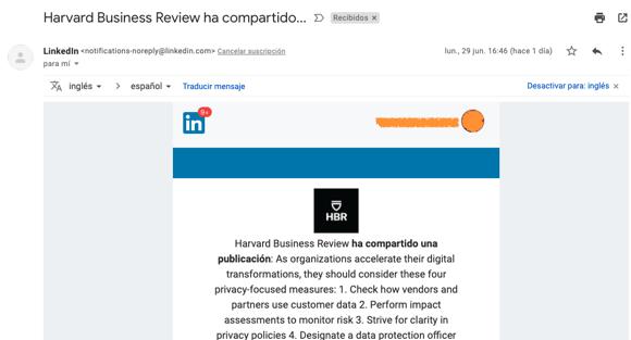 Ejemplo de correo de notificación con no-reply de LinkedIn