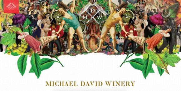 Ejemplo de efecto de paralaje en el sitio de Michael David Winery