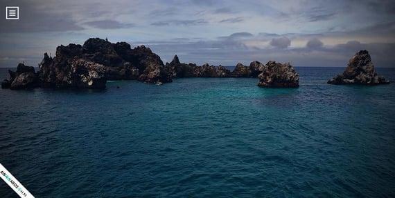 Ejemplo de efecto parallax en el sitio web turístico de Galápagos