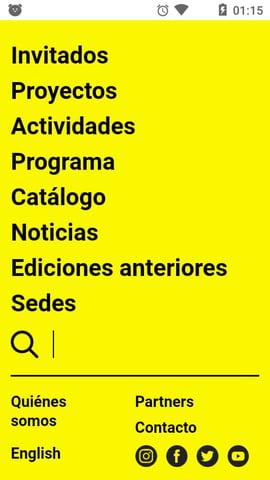 Ejemplo de la página web móvil de Conecta